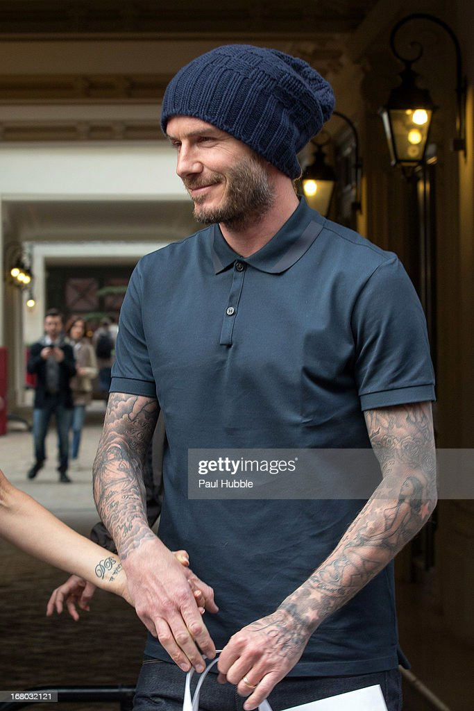 David Beckham is seen leaving the 'Comme des garcons' store on May 4, 2013 in Paris, France.