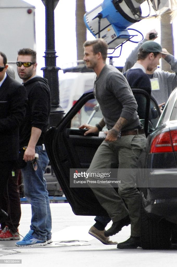 David Beckham is seen shooting an ad commercial for Adidas on January 28, 2013 in Marbella, Spain.