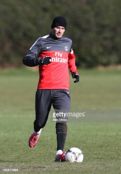 David Beckham is seen training in his Paris Saint Germain kit on February 7 2013 in London England