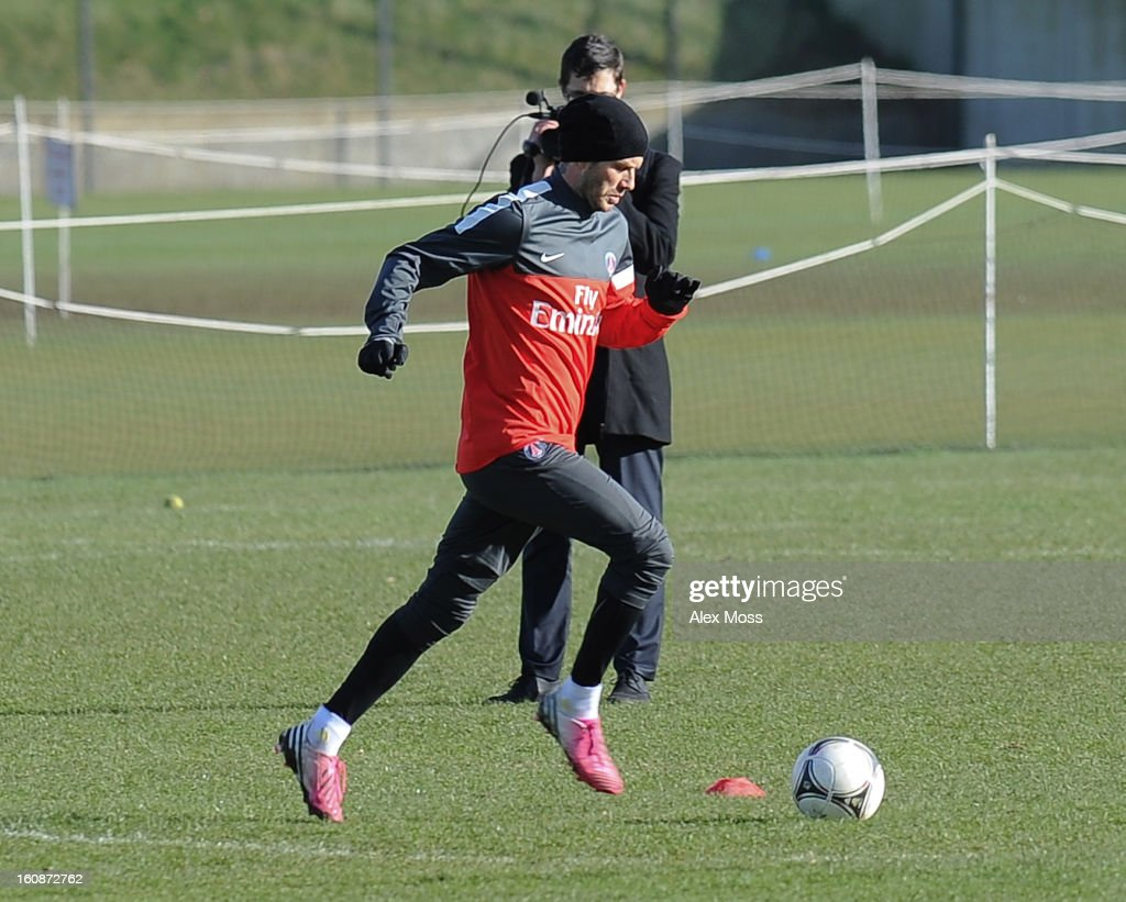 <a gi-track='captionPersonalityLinkClicked' href=/galleries/search?phrase=David+Beckham&family=editorial&specificpeople=158480 ng-click='$event.stopPropagation()'>David Beckham</a> is seen training in his Paris Saint Germain kit on February 7, 2013 in London, England.