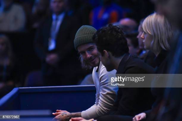 David Beckham is seen watching the Mens final between David Goffin and Grigor Dimitrov at O2 Arena on November 19 2017 in London England