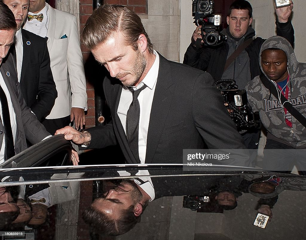 David Beckham is sighted leaving lulu Restaurant, Mayfair on September 16, 2013 in London, England.