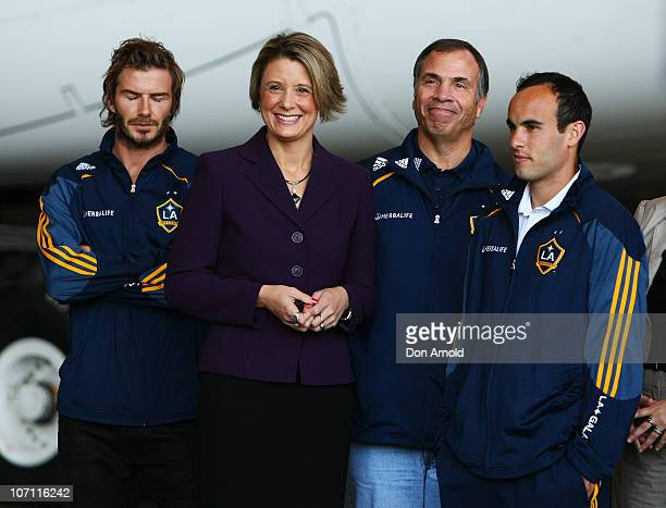 David Beckham Kristina Keneally Bruce Arena and Landon Donovon look on during a press conference upon the arrival of the LA Galaxy football team at...