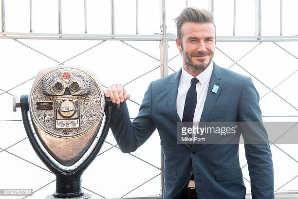 David Beckham lights The Empire State Building blue in honor of UNICEF's 70th anniversary at The Empire State Building on December 12 2016 in New...
