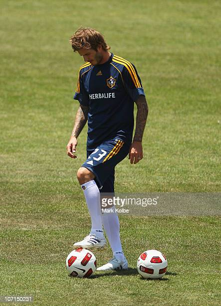 David Beckham limbers up during an LA Galaxy training session at EnergyAustralia Stadium on November 26 2010 in Newcastle Australia