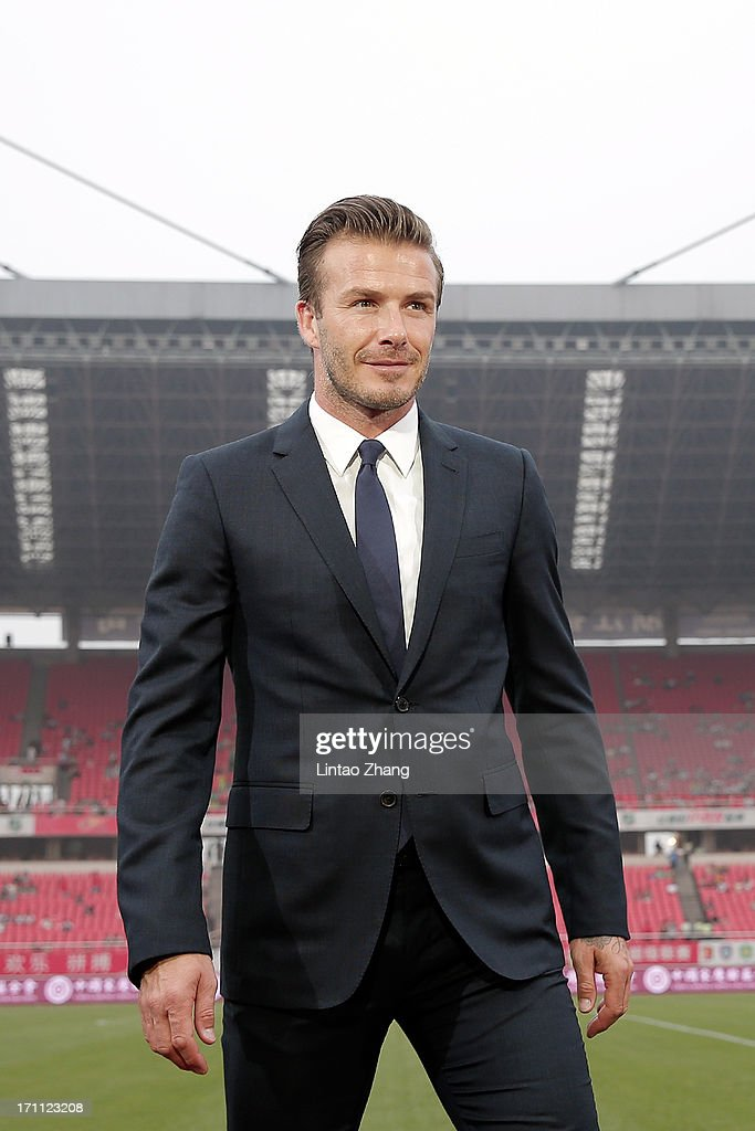 David Beckham looks on during his visit Hangzhou Huanglong Stadium on June 22, 2013 in Hangzhou, China.
