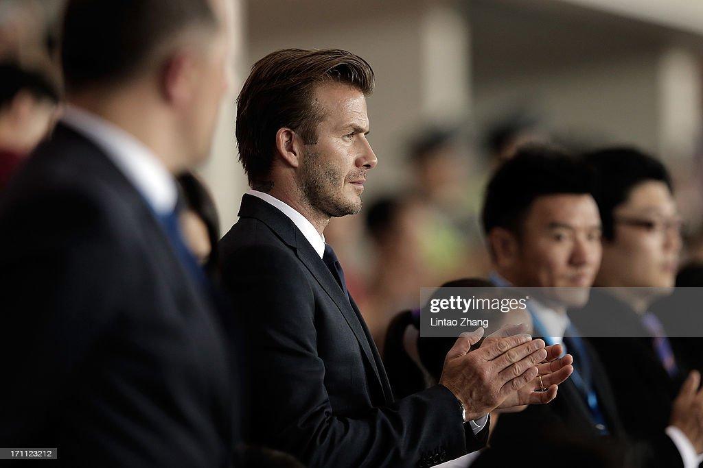 David Beckham looks on during his visit Hangzhou Huanglong Stadium on June 22, 2013 in Hangzhou, China.