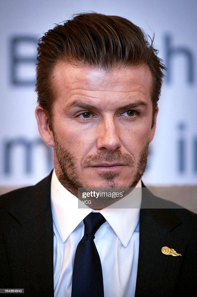 David Beckham meets the media during a press conference on March 23, 2013 in Wuhan, Hubei Province of China.
