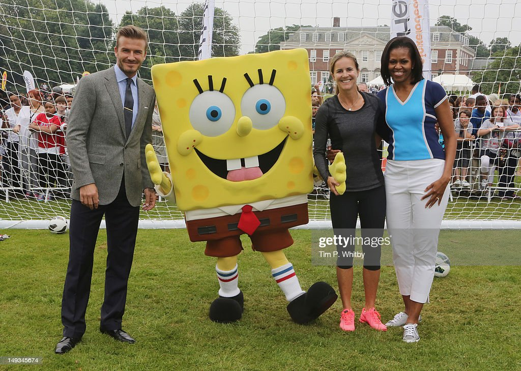<a gi-track='captionPersonalityLinkClicked' href=/galleries/search?phrase=David+Beckham&family=editorial&specificpeople=158480 ng-click='$event.stopPropagation()'>David Beckham</a>, Nickelodeon's Spongebob Squarepants, <a gi-track='captionPersonalityLinkClicked' href=/galleries/search?phrase=Brandi+Chastain&family=editorial&specificpeople=213795 ng-click='$event.stopPropagation()'>Brandi Chastain</a> and First Lady of the United States, <a gi-track='captionPersonalityLinkClicked' href=/galleries/search?phrase=Michelle+Obama&family=editorial&specificpeople=2528864 ng-click='$event.stopPropagation()'>Michelle Obama</a> celebrate Nickelodeon joins Let's Move for 'Let's Move London' event at the American Ambassadors Residence, Winfield House, Regents Park on July 27, 2012 in London, England.