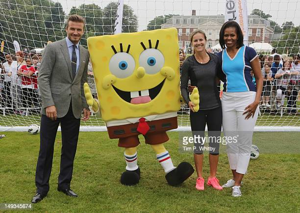 David Beckham Nickelodeon's Spongebob Squarepants Brandi Chastain and First Lady of the United States Michelle Obama celebrate Nickelodeon joins...