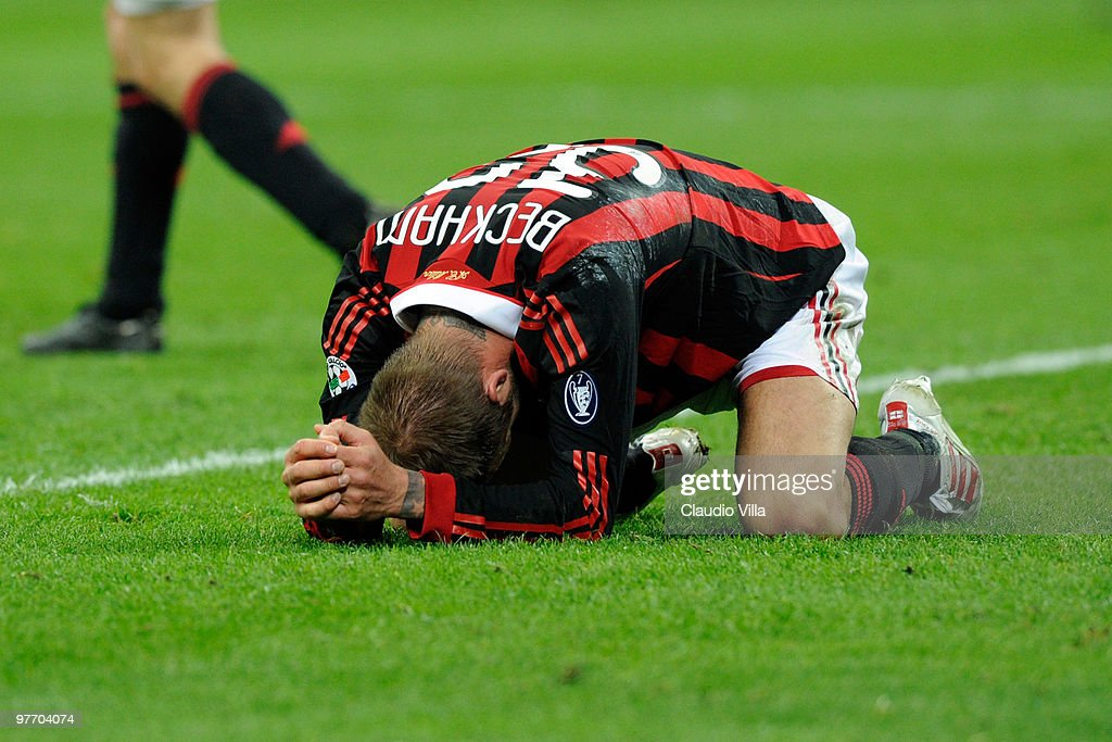 David Beckham of AC Milan during the Serie A match between AC Milan and AC Chievo Verona at Stadio Giuseppe Meazza on March 14, 2010 in Milan, Italy.