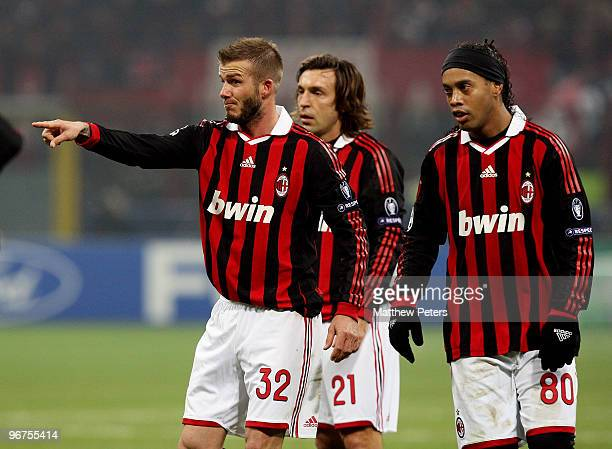 David Beckham of AC Milan in action during the UEFA Champions League First KnockOut Round match between AC Milan and Manchester United at the San...