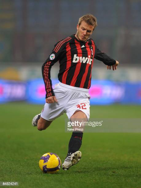 David Beckham of AC Milan plays a ball during the Serie A match between Milan and Genoa at the Stadio Giuseppe Meazza on January 28 2009 in Milan...