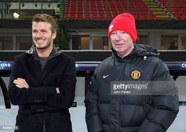 David Beckham of AC MIlan speaks with Sir Alex Ferguson of Manchester United during a training session ahead of their UEFA Champions League...