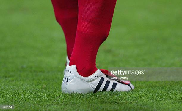 David Beckham of England adidas boots during the FIFA World Cup Finals 2002 Group F match between England and Argentina played at the Sapporo Dome in...
