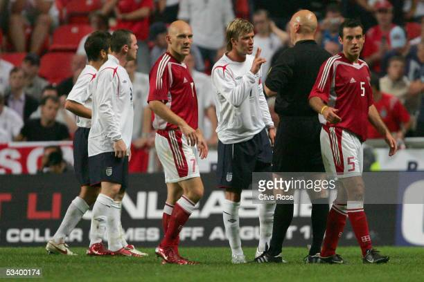 David Beckham of England argues with the referee during the International friendly match between Denmark and England at The Parken Stadium on August...