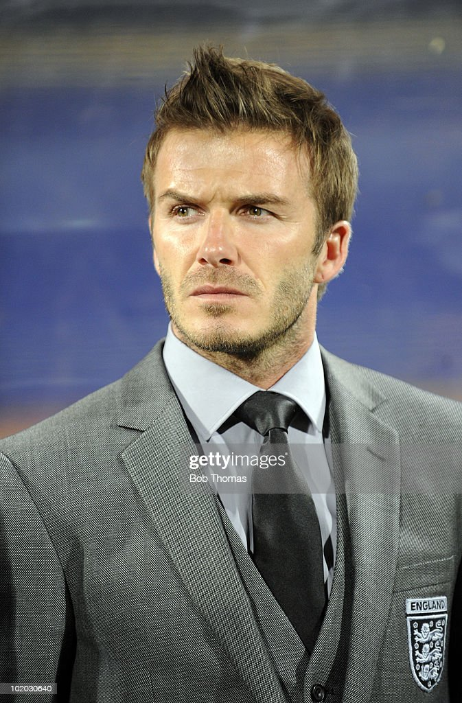 <a gi-track='captionPersonalityLinkClicked' href=/galleries/search?phrase=David+Beckham&family=editorial&specificpeople=158480 ng-click='$event.stopPropagation()'>David Beckham</a> of England before the start of the 2010 FIFA World Cup South Africa Group C match between England and USA at the Royal Bafokeng Stadium on June 12, 2010 in Rustenburg, South Africa. The match was drawn 1-1.