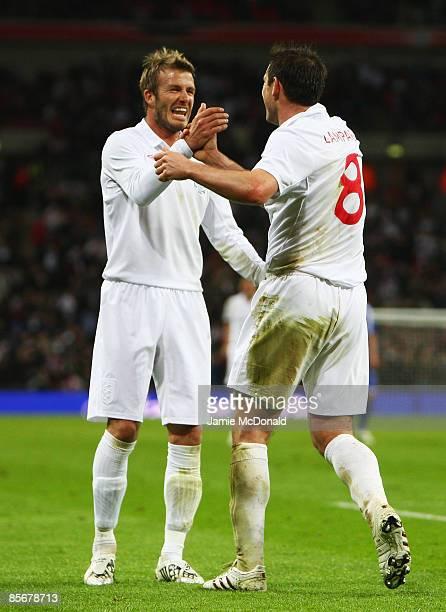 David Beckham of England congratulates goalscorer Frank Lampard during the International Friendly match between England and Slovakia at Wembley...