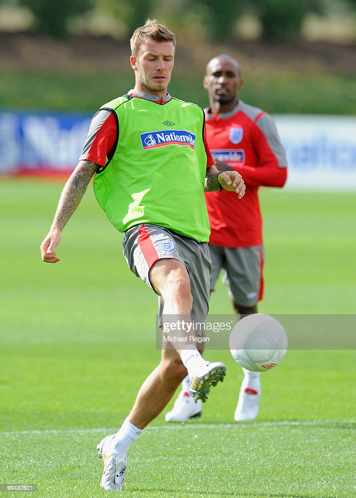 David Beckham of England in action during the England training session at London Colney on September 8, 2009 in St Albans, England.