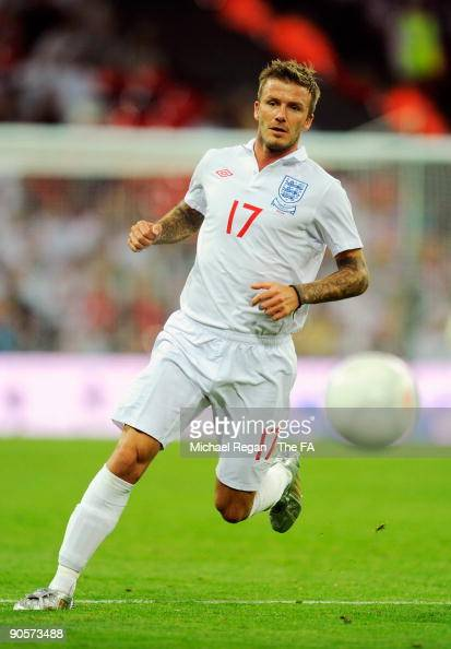 David Beckham of England in action during the FIFA 2010 World Cup Qualifying Group 6 match between England and Croatia at Wembley Stadium on...