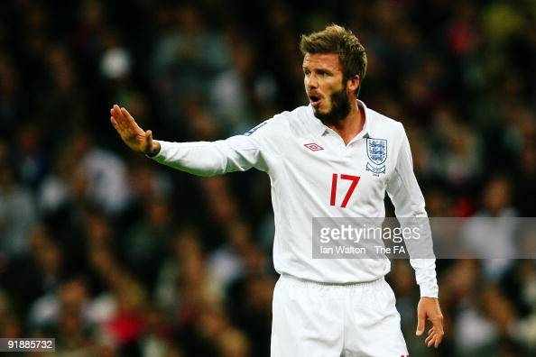 David Beckham of England in action during the FIFA 2010 World Cup Group 6 Qualifying match between England and Belarus at Wembley Stadium on October...