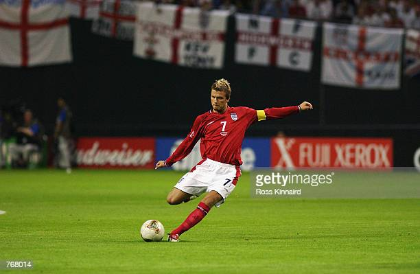David Beckham of England in action during the Group F match against Argentina of the World Cup Group Stage played at the Sapporo Dome in Sapporo...