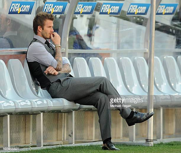 David Beckham of England is thoughtful ahead of the 2010 FIFA World Cup South Africa Round of Sixteen match between Germany and England at Free State...