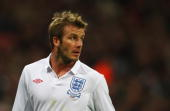 David Beckham of England looks on as he makes his 109th international appearance passing the record of 1966 World Cup winning captain Bobby Moore...