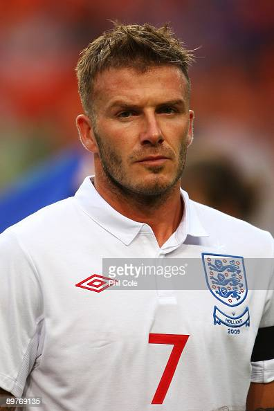 David Beckham of England looks on prior to the International Friendly between Netherlands and England at the Amsterdam Arena on August 12 2009 in...