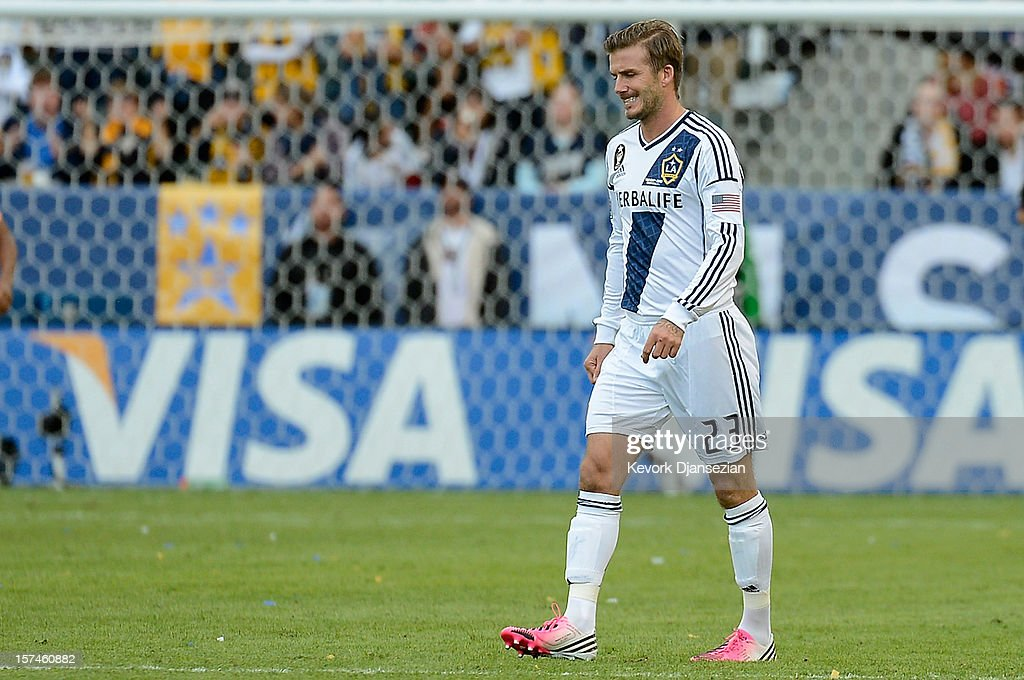David Beckham #23 of Los Angeles Galaxy looks on while taking on the Houston Dynamo in the 2012 MLS Cup at The Home Depot Center on December 1, 2012 in Carson, California.