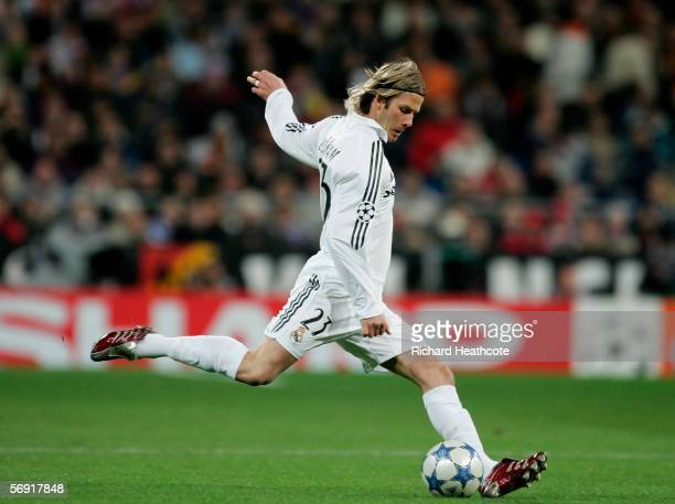 David Beckham of Madrid in action during the UEFA Champions League Round of 16 First Leg match between Real Madrid and Arsenal at the Santiago...