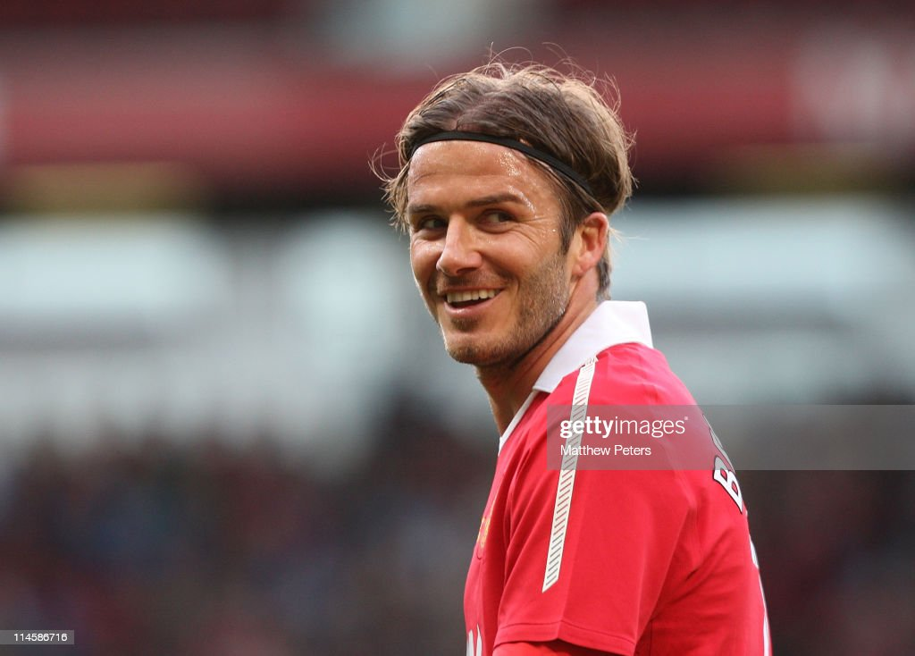 <a gi-track='captionPersonalityLinkClicked' href=/galleries/search?phrase=David+Beckham&family=editorial&specificpeople=158480 ng-click='$event.stopPropagation()'>David Beckham</a> of Manchester United in action during Gary Neville's testimonial match between Manchester United and Juventus at Old Trafford on May 24, 2011 in Manchester, England.