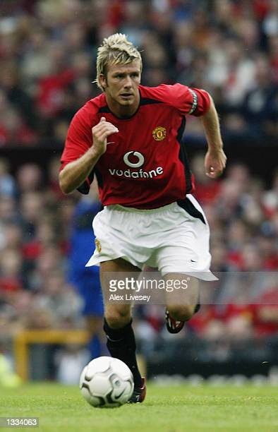 David Beckham of Manchester United in action during the Manchester United v Boca Juniors Unicef Benefit match at Old Trafford in Manchester England...