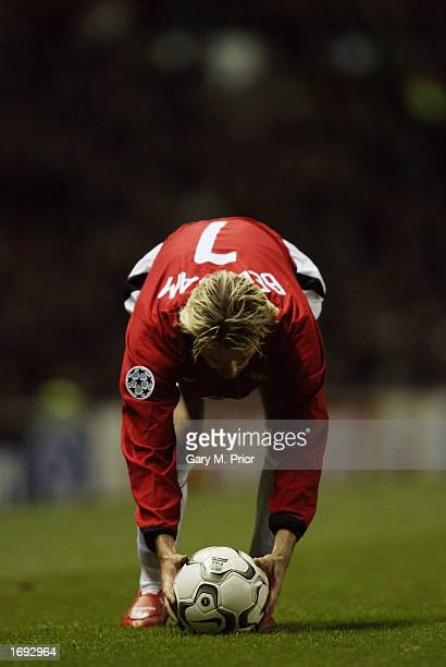 David Beckham of Manchester United placing the ball ready to take a freekick during the Manchester United v Deportivo La Coruna UEFA Champions League...