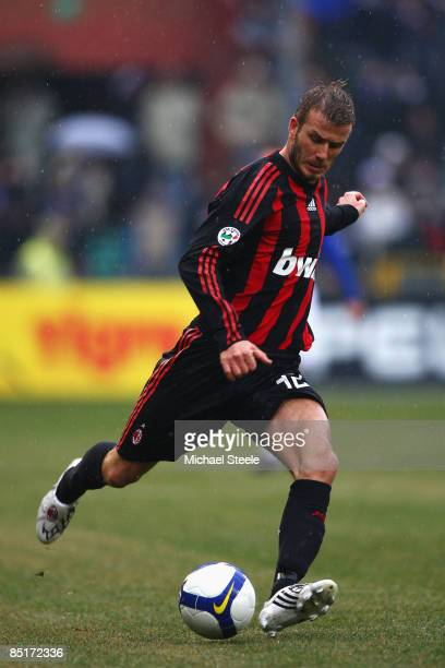 David Beckham of Milan during the Serie A match between Sampdoria and AC Milan at the Stadio Luigi Ferraris on March 1 2009 in GenoaItaly