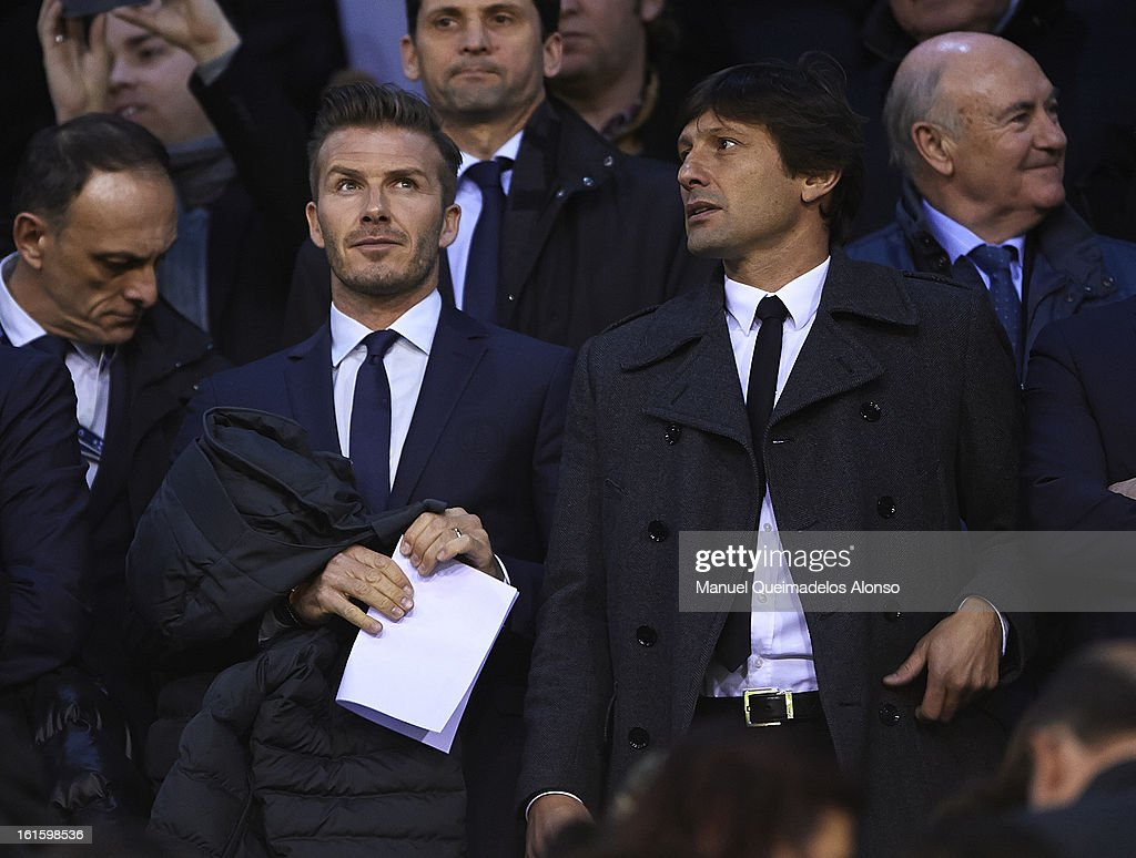 <a gi-track='captionPersonalityLinkClicked' href=/galleries/search?phrase=David+Beckham&family=editorial&specificpeople=158480 ng-click='$event.stopPropagation()'>David Beckham</a> (L) of Paris Saint-Germain and sporting director of Paris Saint-Germain Leonardo attend prior to the UEFA Champions League Round of 16 match between Valencia CF and Paris St Germain at Estadi de Mestalla on February 12, 2013 in Valencia, Spain.