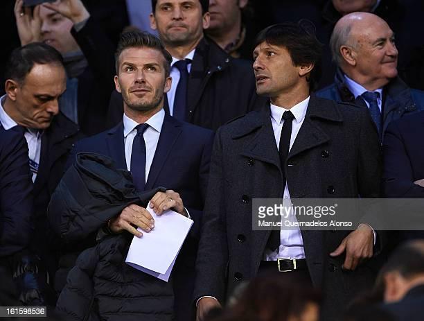 David Beckham of Paris SaintGermain and sporting director of Paris SaintGermain Leonardo attend prior to the UEFA Champions League Round of 16 match...