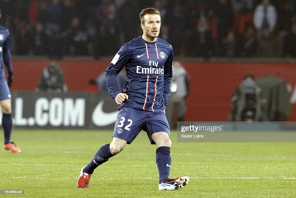 <a gi-track='captionPersonalityLinkClicked' href=/galleries/search?phrase=David+Beckham&family=editorial&specificpeople=158480 ng-click='$event.stopPropagation()'>David Beckham</a> of Paris Saint-Germain during the French League 1 between Paris Saint-Germain FC and Montpellier Herault SC, at Parc des Princes on March 29, 2013 in Paris, France.