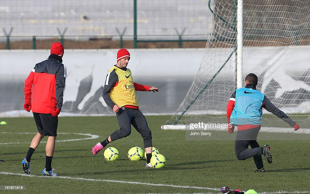 David Beckham of Paris Saint-Germain FC attends his first practice session with his new team at the PSG training camp, the Camp des Loges on February 13, 2013 in Saint-Germain-en-Laye, France.
