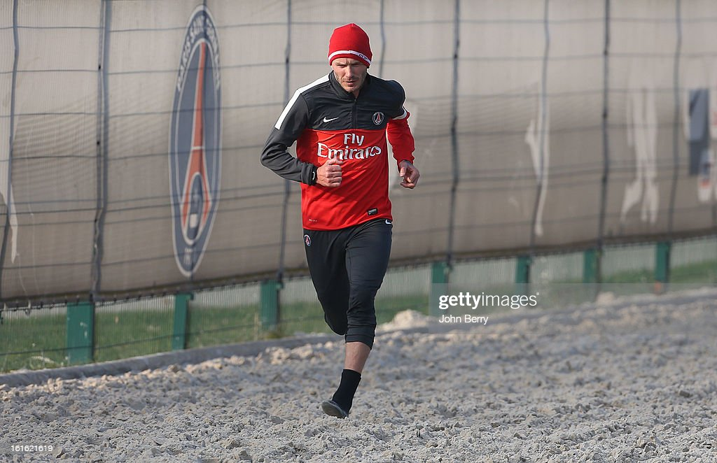 <a gi-track='captionPersonalityLinkClicked' href=/galleries/search?phrase=David+Beckham&family=editorial&specificpeople=158480 ng-click='$event.stopPropagation()'>David Beckham</a> of Paris Saint-Germain FC attends his first practice session with his new team at the PSG training camp, the Camp des Loges on February 13, 2013 in Saint-Germain-en-Laye, France.