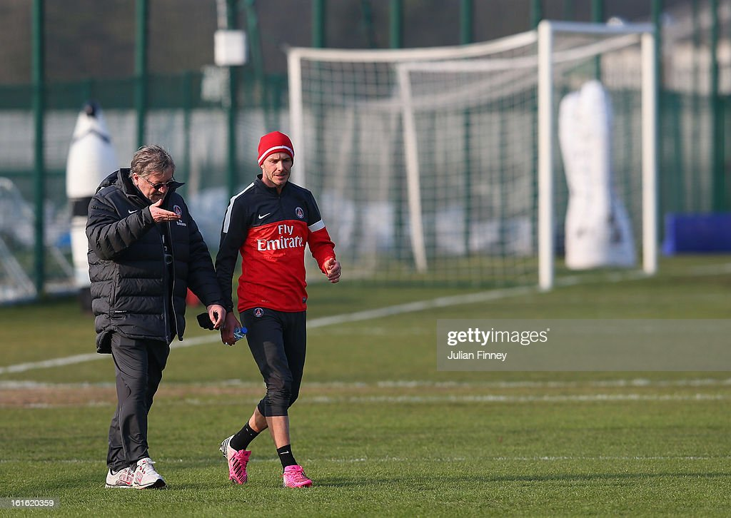 <a gi-track='captionPersonalityLinkClicked' href=/galleries/search?phrase=David+Beckham&family=editorial&specificpeople=158480 ng-click='$event.stopPropagation()'>David Beckham</a> of Paris Saint-Germain FC attends his first training session on February 13, 2013 in Paris, France.