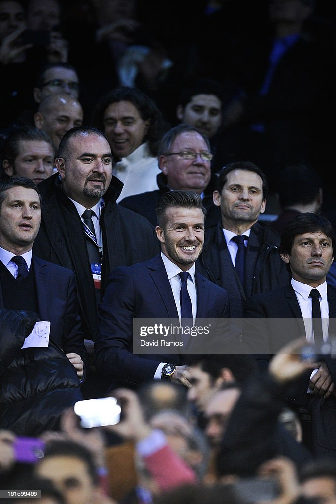<a gi-track='captionPersonalityLinkClicked' href=/galleries/search?phrase=David+Beckham&family=editorial&specificpeople=158480 ng-click='$event.stopPropagation()'>David Beckham</a> of Paris Saint-Germain looks on from the stands prior to the UEFA Champions League Round of 16 first leg match between Valencia CF and Paris St Germain at Estadi de Mestalla on February 12, 2013 in Valencia, Spain.