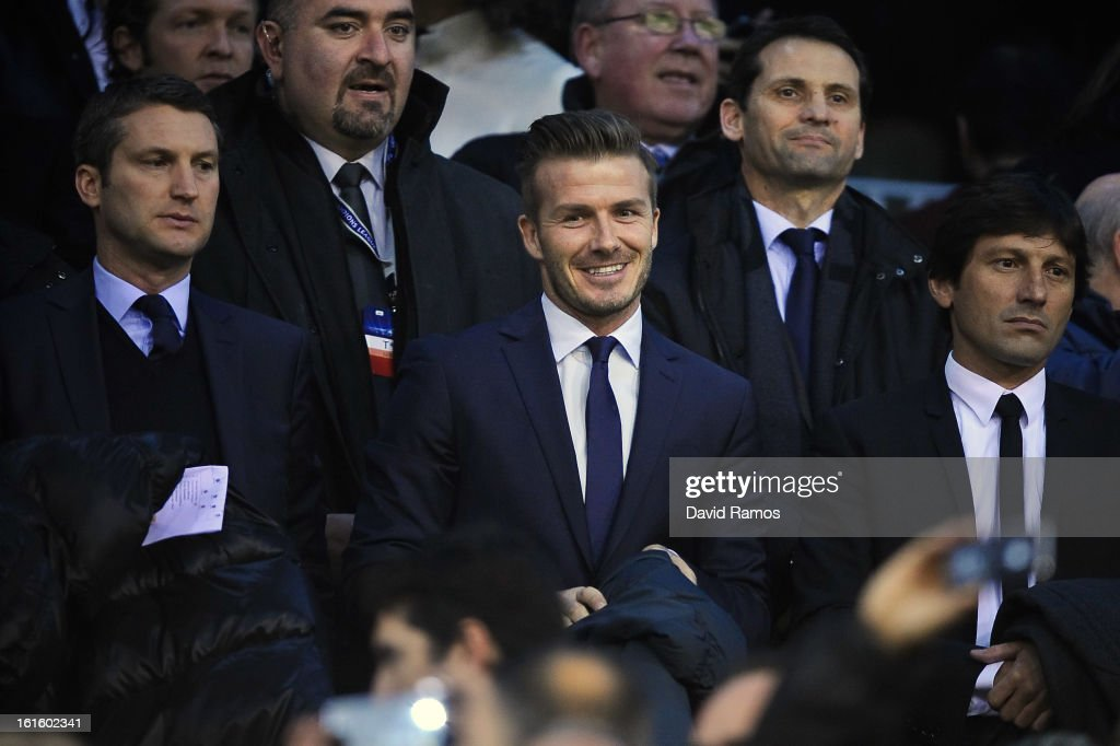 <a gi-track='captionPersonalityLinkClicked' href=/galleries/search?phrase=David+Beckham&family=editorial&specificpeople=158480 ng-click='$event.stopPropagation()'>David Beckham</a> of Paris Saint-Germain looks on from the standsprior to the UEFA Champions League Round of 16 first leg match between Valencia CF and Paris St Germain at Estadi de Mestalla on February 12, 2013 in Valencia, Spain.