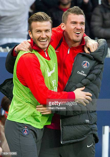 David Beckham of PSG celebrates during the French Ligue 1 match between Paris SaintGermain FC and Nancy FC at Parc des Princes on March 9 2013 in...