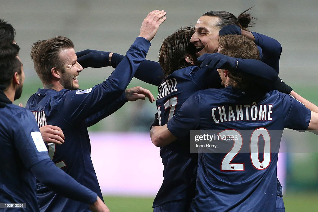 David Beckham of PSG congratulate teammate Zlatan Ibrahimovic for his goal during the Ligue 1 match between AS Saint-Etienne ASSE and Paris Saint-Germain FC at the Stade Geoffroy-Guichard on March 17, 2013 in Saint-Etienne, France.