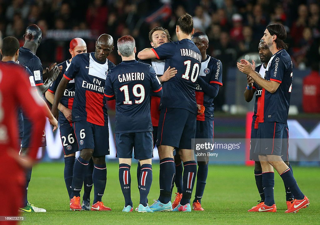 <a gi-track='captionPersonalityLinkClicked' href=/galleries/search?phrase=David+Beckham&family=editorial&specificpeople=158480 ng-click='$event.stopPropagation()'>David Beckham</a> of PSG gets emotional and cries when he leaves the field supported by his teammates, here <a gi-track='captionPersonalityLinkClicked' href=/galleries/search?phrase=Zlatan+Ibrahimovic&family=editorial&specificpeople=206139 ng-click='$event.stopPropagation()'>Zlatan Ibrahimovic</a>, <a gi-track='captionPersonalityLinkClicked' href=/galleries/search?phrase=Zoumana+Camara&family=editorial&specificpeople=729000 ng-click='$event.stopPropagation()'>Zoumana Camara</a>, Kevin Gameiro, <a gi-track='captionPersonalityLinkClicked' href=/galleries/search?phrase=Javier+Pastore&family=editorial&specificpeople=5857872 ng-click='$event.stopPropagation()'>Javier Pastore</a> during the Ligue 1 match between Paris Saint-Germain FC and Stade Brestois 29 at the Parc des Princes stadium on May 18, 2013 in Paris, France.