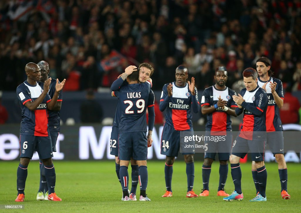 <a gi-track='captionPersonalityLinkClicked' href=/galleries/search?phrase=David+Beckham&family=editorial&specificpeople=158480 ng-click='$event.stopPropagation()'>David Beckham</a> of PSG gets emotional and cries when he leaves the field cheered by his teammates, Lucas Moura, <a gi-track='captionPersonalityLinkClicked' href=/galleries/search?phrase=Zoumana+Camara&family=editorial&specificpeople=729000 ng-click='$event.stopPropagation()'>Zoumana Camara</a>, <a gi-track='captionPersonalityLinkClicked' href=/galleries/search?phrase=Blaise+Matuidi&family=editorial&specificpeople=801779 ng-click='$event.stopPropagation()'>Blaise Matuidi</a>, <a gi-track='captionPersonalityLinkClicked' href=/galleries/search?phrase=Siaka+Tiene&family=editorial&specificpeople=788647 ng-click='$event.stopPropagation()'>Siaka Tiene</a>, <a gi-track='captionPersonalityLinkClicked' href=/galleries/search?phrase=Kevin+Gameiro&family=editorial&specificpeople=815278 ng-click='$event.stopPropagation()'>Kevin Gameiro</a>, <a gi-track='captionPersonalityLinkClicked' href=/galleries/search?phrase=Javier+Pastore&family=editorial&specificpeople=5857872 ng-click='$event.stopPropagation()'>Javier Pastore</a> during the Ligue 1 match between Paris Saint-Germain FC and Stade Brestois 29 at the Parc des Princes stadium on May 18, 2013 in Paris, France.