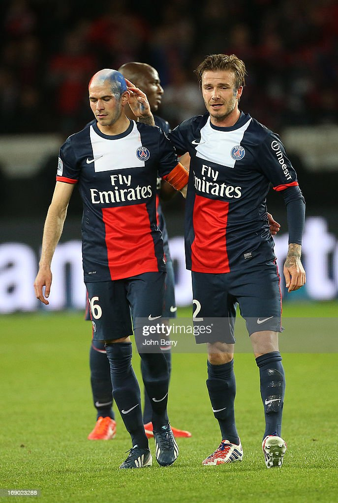 <a gi-track='captionPersonalityLinkClicked' href=/galleries/search?phrase=David+Beckham&family=editorial&specificpeople=158480 ng-click='$event.stopPropagation()'>David Beckham</a> of PSG gets emotional and cries when he leaves the field cheered by his teammates, <a gi-track='captionPersonalityLinkClicked' href=/galleries/search?phrase=Christophe+Jallet&family=editorial&specificpeople=2264495 ng-click='$event.stopPropagation()'>Christophe Jallet</a> during the Ligue 1 match between Paris Saint-Germain FC and Stade Brestois 29 at the Parc des Princes stadium on May 18, 2013 in Paris, France.