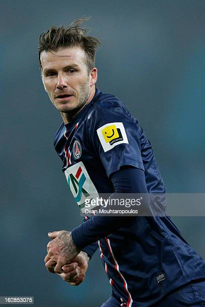 David Beckham of PSG in action during the French Cup match between Paris SaintGermain FC and Marseille Olympic OM at Parc des Princes on February 27...
