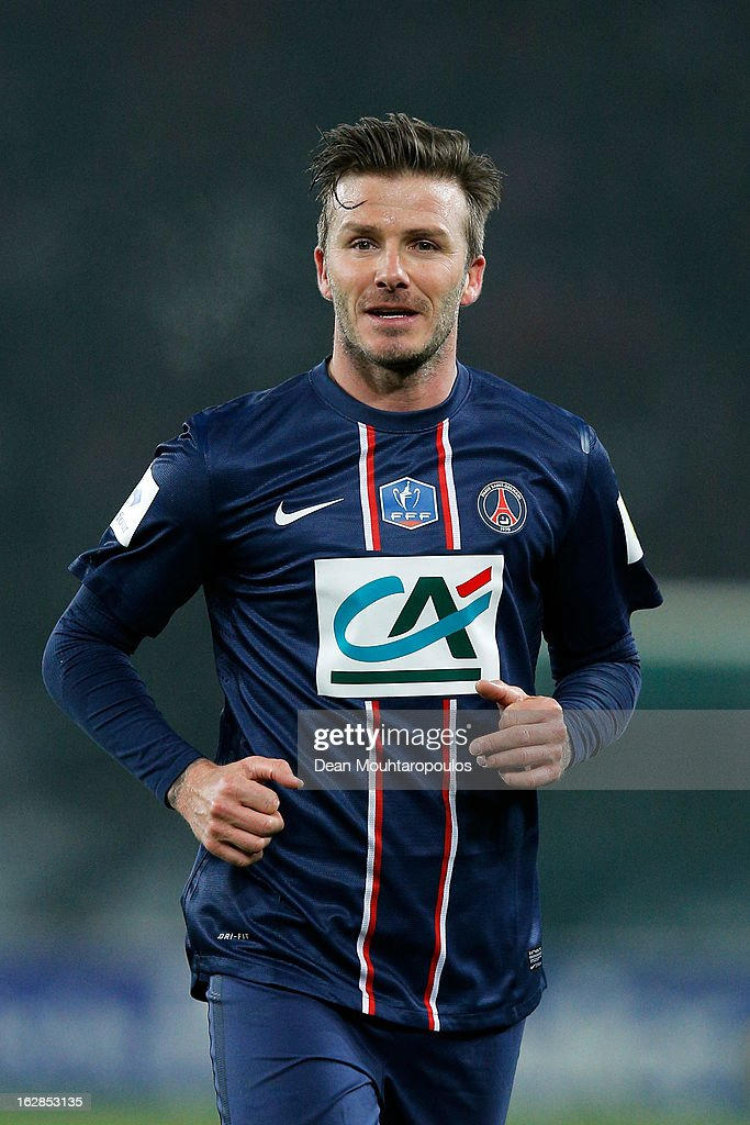 <a gi-track='captionPersonalityLinkClicked' href=/galleries/search?phrase=David+Beckham&family=editorial&specificpeople=158480 ng-click='$event.stopPropagation()'>David Beckham</a> of PSG in action during the French Cup match between Paris Saint-Germain FC and Marseille Olympic OM at Parc des Princes on February 27, 2013 in Paris, France.